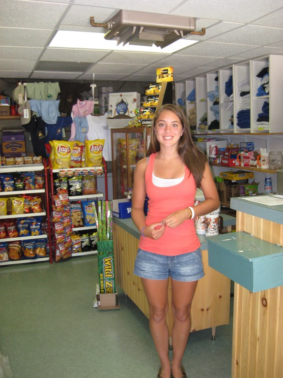 young woman in camp store