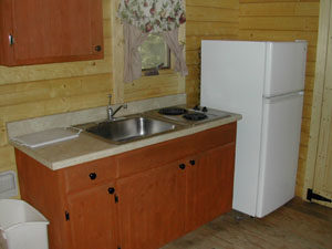 kitchen area of cabin