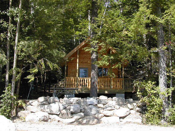 exterior of cabin with rocks